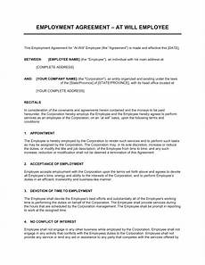 Employee Agreement Form Employment Agreement At Will Employee Template Word