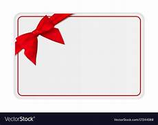 Gift Card Samples Free Blank Gift Card Template With Bow And Ribbon Vector Image