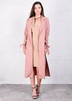 pink coats for duster suede feel duster jacket trench coat tie sleeve pink