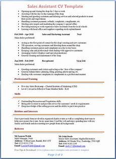 Examples Of Retail Cv Preview Of Sales Assistant Cv 2