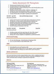 Shop Assistant Cv Template Preview Of Sales Assistant Cv 2