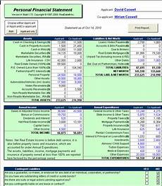 Excel Personal Financial Statement Excel Property Financial Statement