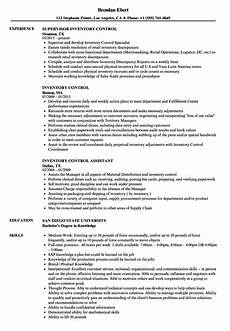 Inventory Control Clerk Resume Inventory Control Resume Samples Velvet Jobs