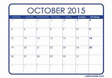 October 2015 Calendar Word Printable October Calendar Calendars