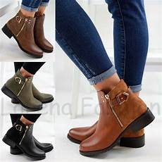 flache schuhe new womens flat ankle boots casual buckle side zip