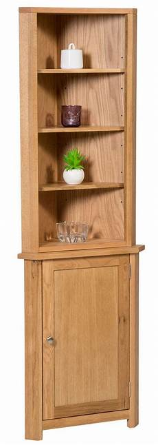 small oak corner display cabinet storage cupboard with