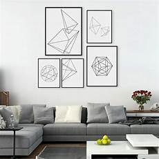 wall home decor modern nordic minimalist black white geometric shape a4
