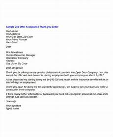 Job Offer Thank You Letter Thank You Letter For Job Offer Templates How To Write