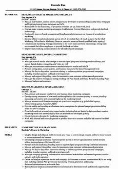 Marketing Specialist Resume Sample Specialist Digital Marketing Resume Samples Velvet Jobs
