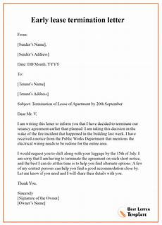 Lease Termination Template Early Lease Termination Letter Format Sample Amp Example