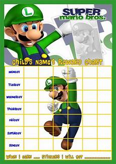 Mario Chart Luigi Super Mario Personalised Reward Chart With Free