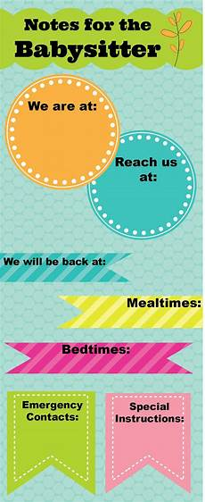 Babysitter Notes Template Printable Notes For The Babysitter Somewhat Simple The