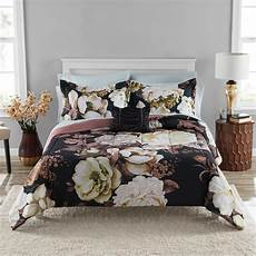 mainstays black floral bed in a bag coordinated comforter
