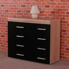 wide chest of 4 4 drawers in black sonoma oak effect