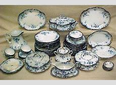 Set of English flow blue dinnerware Rid