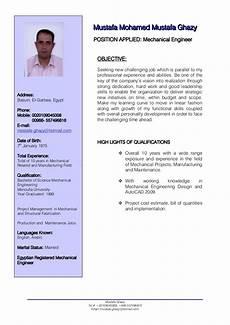 Professional Cv Format For Engineers Mechanical Engineer Cv