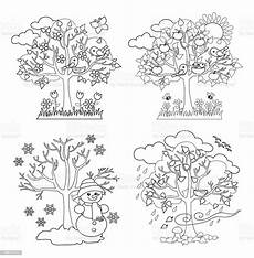 four seasons trees coloring vector illustration stock