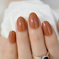 Light Brown Nail Color Light Brown Uv Nail Art Tips Pure Color Round Short Full
