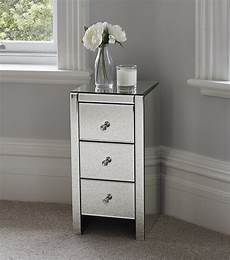 venetian mirrored glass bedside table with three drawers