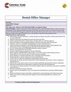 Office Job Description Dentist Office Manager Job Description Templates At
