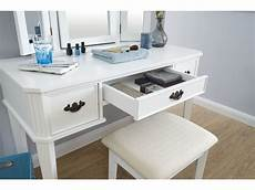 white dressing table 3 mirrors 3 drawers fabric
