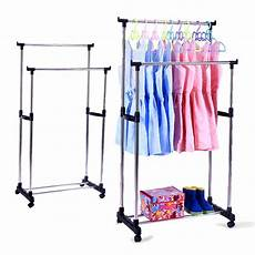 hanging clothes rack on wheels portable rods rolling clothes rack adjustable