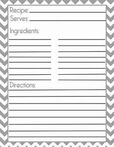 recipe card template for pages chevron gray recipe page and filler page printable
