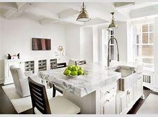 white kitchen marble stainless steel farmhouse sink island chicago apartment cococozy   Kitchens