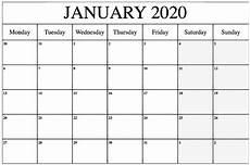 January Editable Calendar 2020 Editable January 2020 Calendar Printable Blank Template