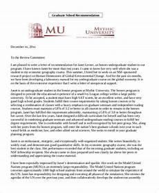 Letter Of Recommendation Graduate School Samples Free 9 Letter Of Recommendation Samples In Ms Word Pdf