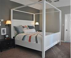 White Bed Canopy Modern King Farmhouse Bed With Canopy White