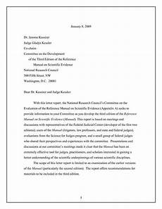 Cover Letter For A Report Letter Report Evaluation Of The Reference Manual On