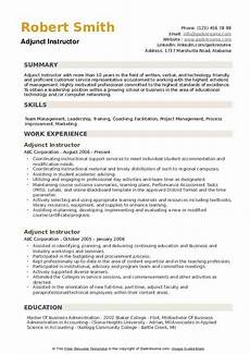 Adjunct Instructor Resume Adjunct Instructor Resume Samples Qwikresume