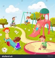 Children Playing Background Cute Children Playground Happy Children Playing Stock