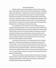Personal Statement For Graduate School Examples Free 8 Sample Personal Statement For Graduate School In