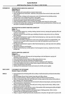 Sample Of Office Assistant Resume Office Services Assistant Resume Samples Velvet Jobs