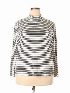 Norm Thompson Size Chart Norm Thompson Stripes White Gray Long Sleeve Turtleneck