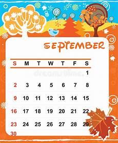 November Calendar Decorations Decorative Frame For Calendar September Stock Vector