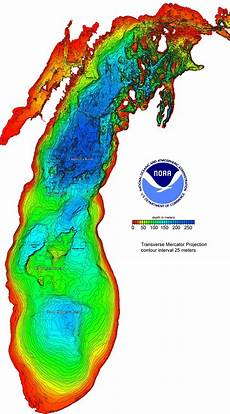 Lesser Lake Depth Chart Lake Michigan Depths Map Mappery