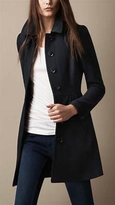 burberry brit wool twill dress coat in blue lyst