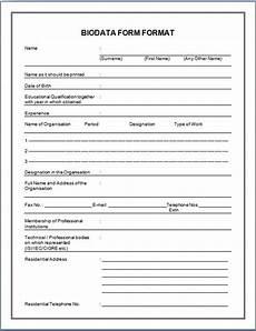 Biodata Form Download Biodata Format For Job Application Download Sample