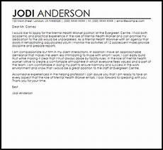 Cover Letter Mental Health Worker Mental Health Worker Cover Letter Sample Cover Letter