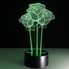 Lighting Illusions Beautiful Rose Flower 3d Optical Illusion Lamp Seven Color