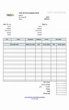Vat Bill Format In Excel Vat Service Invoice Template Price Excluding Tax
