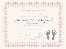 Christening Certificate Birth Certificate With Baby Footprints Baby Certificate
