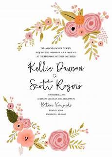 Design Printable Invitations Print Romantic Botanical Free Printable Wedding
