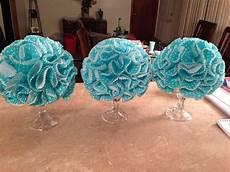 dollar store candlesticks styrofoam ball pins hot glue