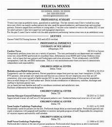 Cardiac Nurse Resume Cardiac Nurse Resume Sample Nursing Resumes Livecareer