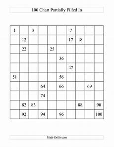 Fill In 100 Chart One Hundred Chart Partially Filled A