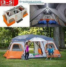 camping tent with built in lights 18 x 10 3 room cabin tent camping canopy 12 person